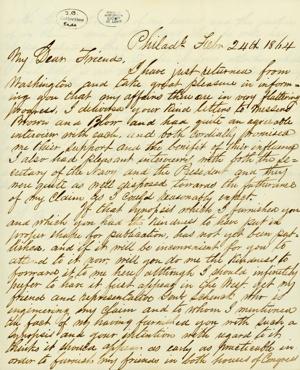 Letter signed R.N. Stembel, Philadelphia, to J.B. Eads, St. Louis, February 24, 1864