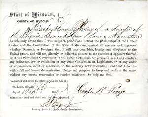 Loyalty oath of Casper Henry Prange of Missouri, County of St. Louis