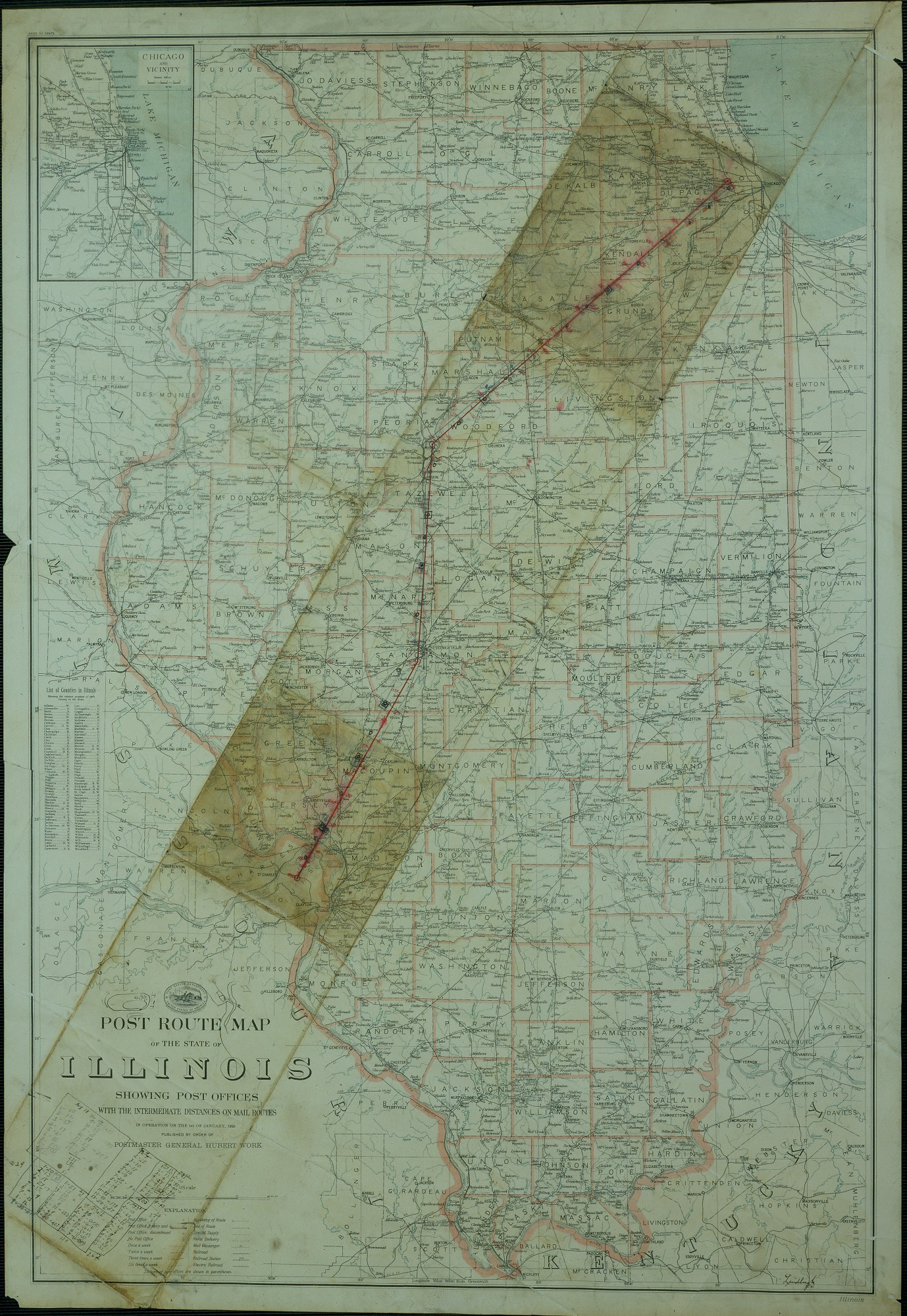 Post Route Map of the State of Illinois, U. S. Post Office, 1923