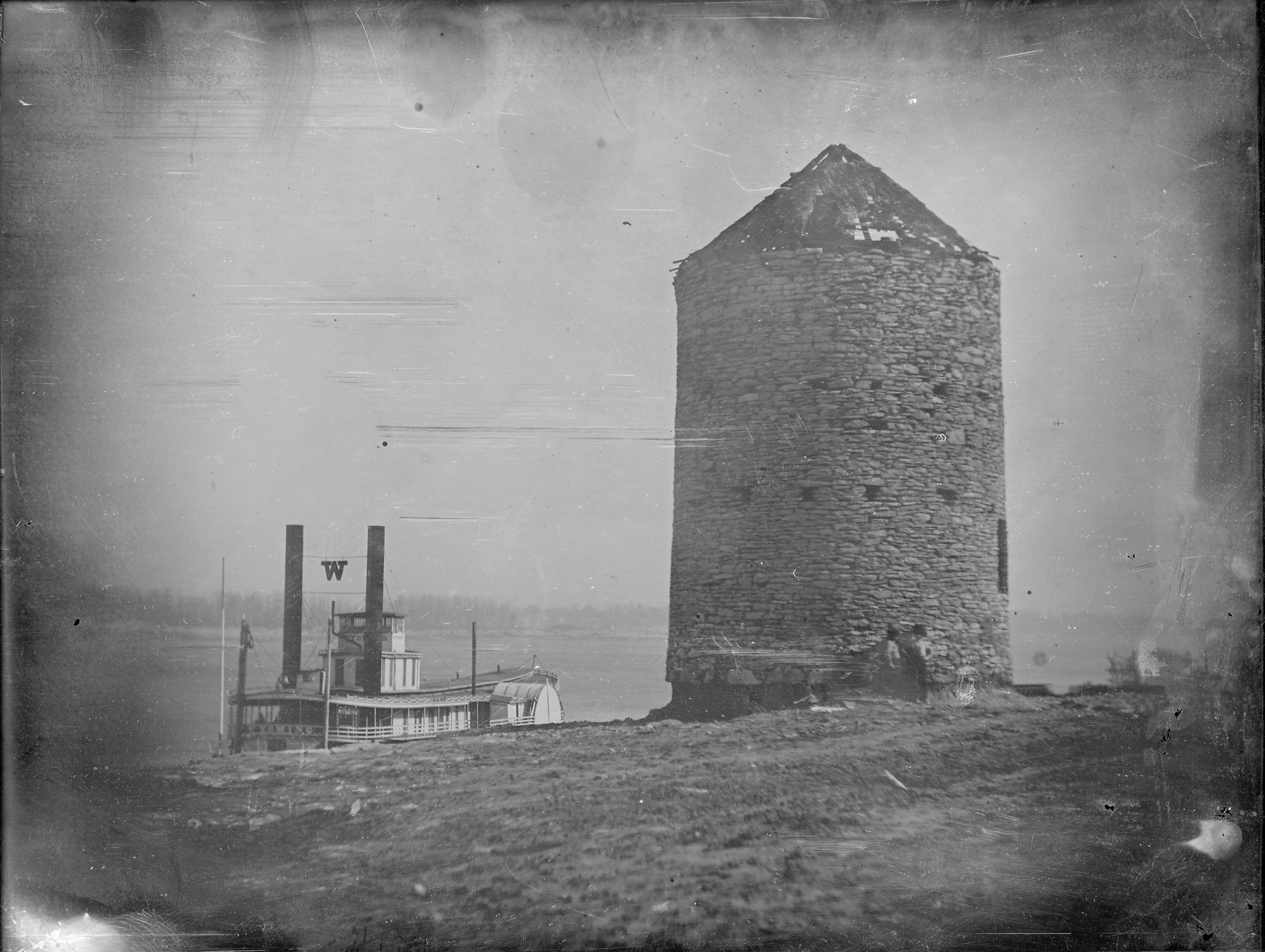 Old Spanish Fort Later Roy S Mill Riverfront At Foot Of Biddle Street Steamer Wyoming At River Bank